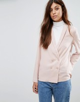 New Look Crepe Double Breasted Soft Blazer