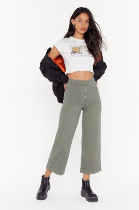 Nasty Gal Womens Travel Far and Wide Culotte Jeans - Green - 6, Green