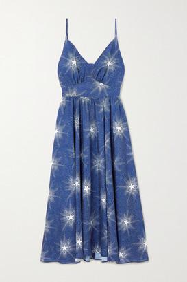 Paco Rabanne Crystal-embellished Printed Crepe Midi Dress - Navy