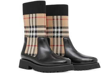 BURBERRY KIDS Signature Check Knit Wellies