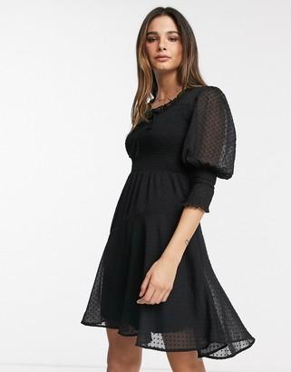 Vero Moda mini dress in black dobby mesh