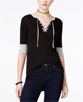 Rebellious One Juniors' Contrast-Trim Lace-Up High-Low T-Shirt