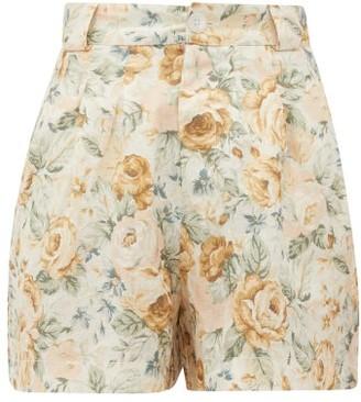 Ephemera - High-rise Floral-print Linen Shorts - Yellow Multi