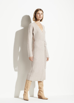 Vince Wool Cashmere Ribbed Wrap Dress