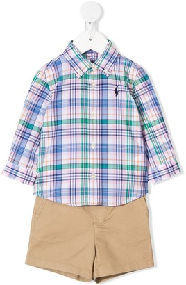 Ralph Lauren Kids Checked Shirt And Shorts Set