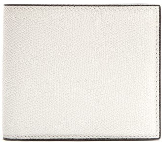 Valextra Bi-fold Grained-leather Wallet - White