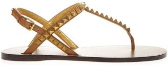 Valentino Garavani Camel Color Rickstud Leather Flip Flops Sandals