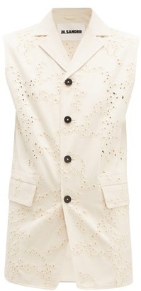 Jil Sander Broderie-anglaise Cotton Sleeveless Jacket - Womens - Beige