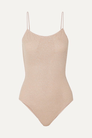 Oseree Lumière Stretch-lurex Swimsuit - Neutral