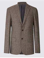 M&s Collection Luxury Wool Rich Basket Weave Jacket