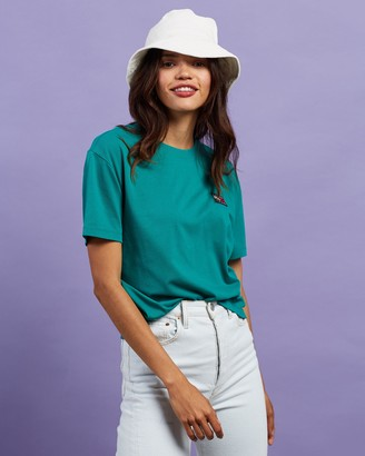 Tommy Jeans Women's Green Printed T-Shirts - Tommy Badge Tee - Size XS at The Iconic