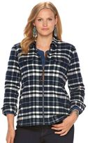 Chaps Plus Size Full-Zip Plaid Flannel Shirt