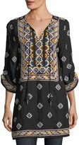 Tolani Malti 3/4-Sleeve Embroidered Tunic