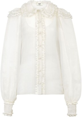 Fendi Button-Front Ruffle Blouse