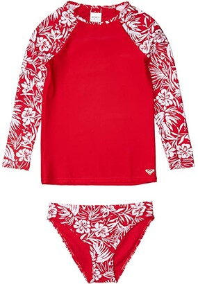 Roxy Kids Enjoy Waves Long Sleeve Lycra Swim Set (Big Kids) (Lipstick Red Island Cove) Girl's Swimwear Sets