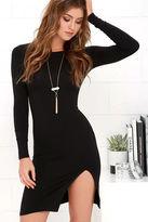 LuLu*s How I Wonder Black Long Sleeve Midi Dress