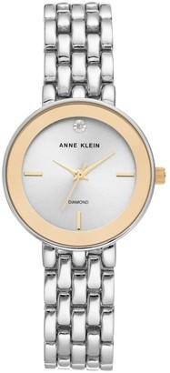 Anne Klein Womens Goldtone and Silvertone Diamond Bracelet Watch