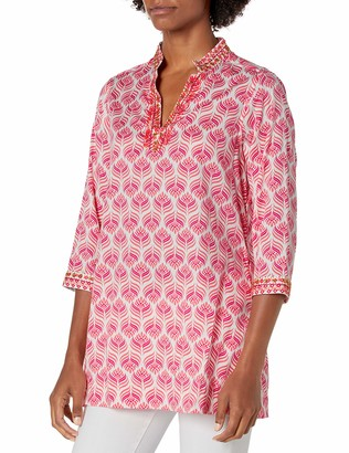 Foxcroft Women's Plus Size Angelica Block Print with Embroidery Tunic