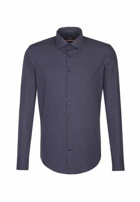 Seidensticker Men's Slim Extra Langer Arm mit Kent-Kragen Soft Paisley Business Shirt