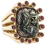 Stephen Dweck Mother of Pearl & Garnet Ring