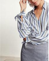 Express slim fit striped tie cuff portofino shirt