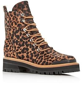 Marc Fisher Women's Izziely Leopard Print Calf Hair Combat Boots