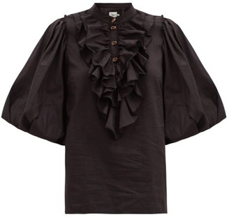 Aje Psychedelia Ruffled Cotton-blend Blouse - Black