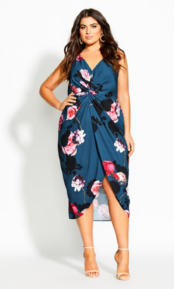 City Chic Floral Bliss Dress - emerald