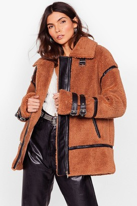 Nasty Gal Womens Faux Fur-get What They Said Aviator Jacket - Beige - M/L