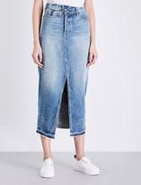 Helmut Lang Reconstructed denim midi skirt