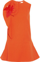 DELPOZO Appliquéd Ruffled Stretch Cotton-blend Crepe Mini Dress - Bright orange