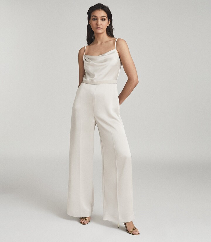 Reiss Arizona - Satin Cowl Neck Jumpsuit in Champagne