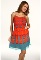 Calvin Klein Jeans Petite - Petite Square Ikat Dress (Firecracker) - Apparel
