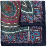 Navy Wool Paisley Italian Luxury Pocket Square Size Osfa By Charles Tyrwhitt