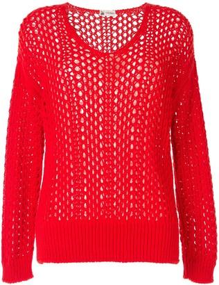 Colombo open-knit V-neck jumper