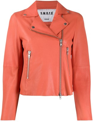 S.W.O.R.D 6.6.44 Silver-Tone Zip Leather Biker Jacket