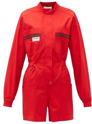 Gucci Le Rose Di Eliogabalo Web-stripe Cotton Jumpsuit - Red