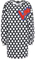 Love Moschino Embroidered Printed Cotton-Blend Fleece Mini Dress