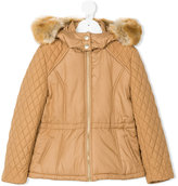 Chloé Kids fur collar quilted coat