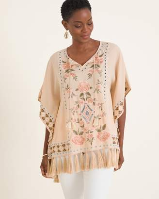 Chico's Chicos Rose-Embroidered Poncho