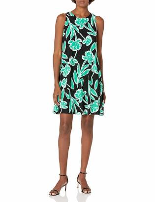 Kasper Women's Stencil Floral Print Knit Sleeveless Dress