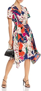 Aqua Scarf Print Fit-and-Flare Dress - 100% Exclusive