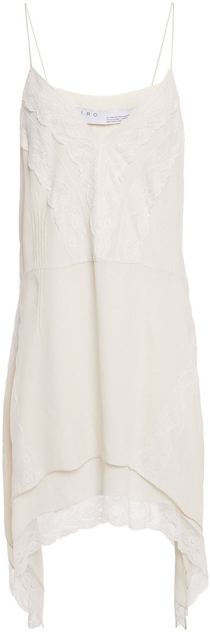 IRO Lace-trimmed Crepe De Chine Slip Dress