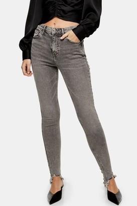Topshop Womens Grey Jagged Hem Jamie Jeans - Grey