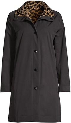 Jane Post Reversible Leopard Rain Coat
