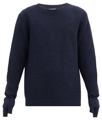 BED J.W. FORD Distressed-cuff Wool Sweater - Navy