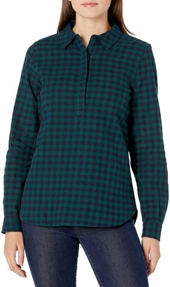 Goodthreads Amazon Brand Women's Flannel Long Sleeve Relaxed Fit Half Placket Popover Shirt