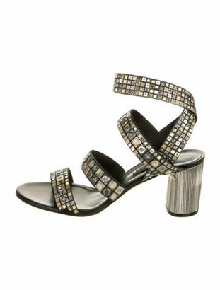 Casadei Printed Studded Accents Sandals Black