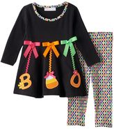 "Bonnie Jean Baby Girl Halloween ""Boo"" Hanging Ornament Top & Leggings Set"
