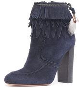 Aquazzura Fringed Suede Ankle Boot, Ink